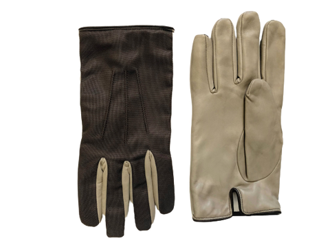Brown fabric with creme nappa leather gloves