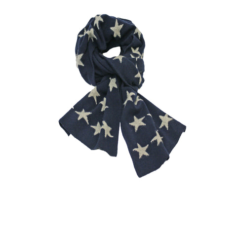 Cashmere knitted scarf with stars Navy silver