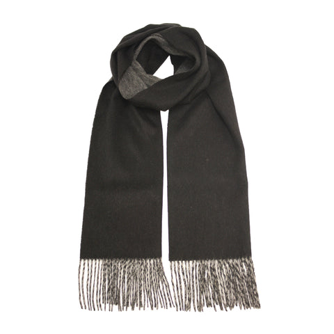 Woven Cashmere Scarf double face Black Silver
