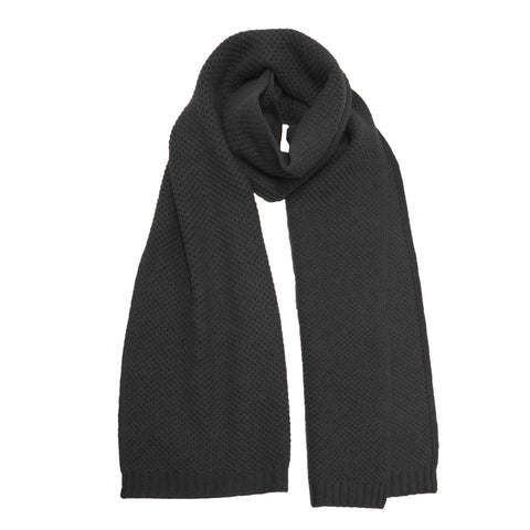 Cashmere knitted Seed Stitch scarf Black