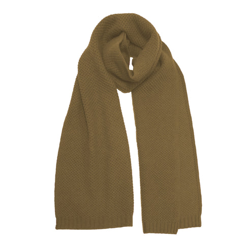 Cashmere knitted Seed Stitch Scarf Milkyway Camel