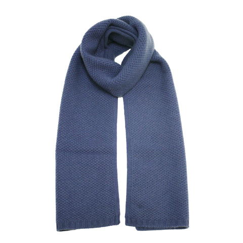 Cashmere Knitted Seed Stitch Scarf Jeans
