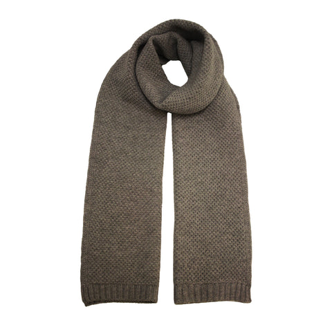 Cashmere knitted seed stitch scarf Grey