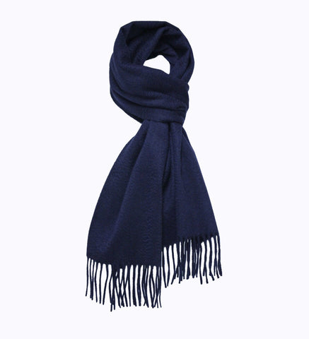 Cashmere Woven Scarf Navy