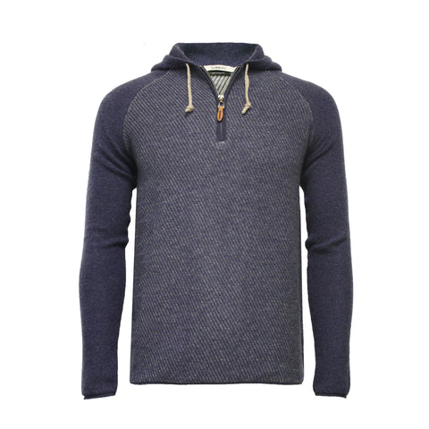 Nowa Hooded Cashmere Sweater with quarter zip Jeans blue with grey