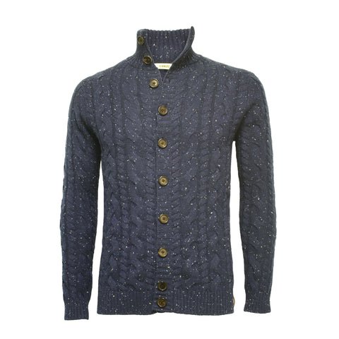 Blue Cashmere Cable Cardigan