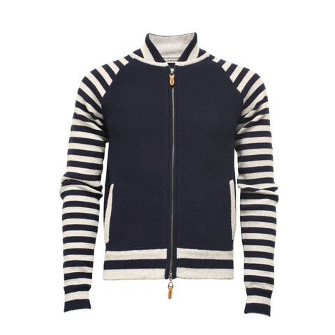 Blue Striped Sleeves Cashmere Bomber Jacket