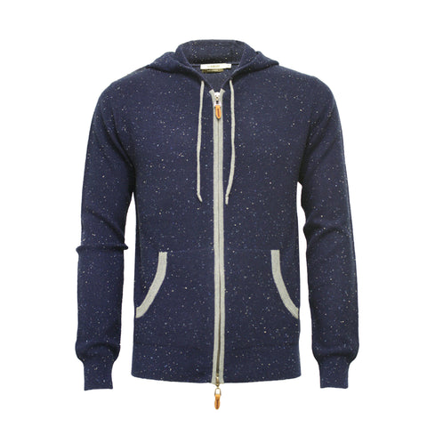 Blue Cashmere Donegal Hooded Zipper Sweater