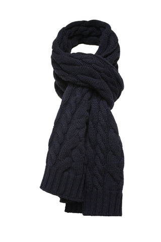 Cashmere knitted double cable scarf navy