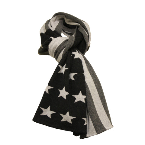 Cashmere knitted scarf American Flag in Grey tones
