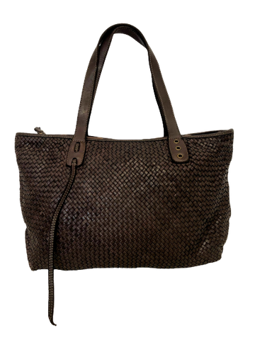 Dark Brown Woven Leather Hold All