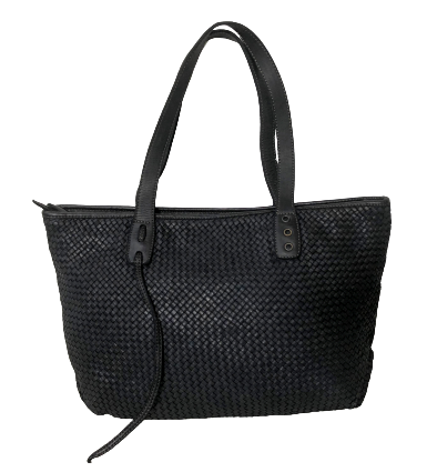 Black Woven Leather Tote Bag
