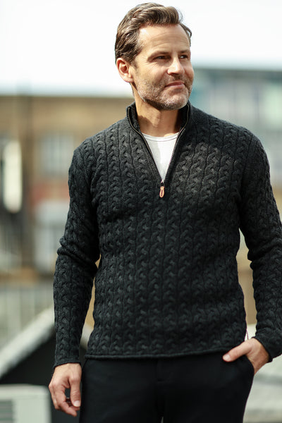 Men´s Cashmere Half Zip Sweater in Full Cable knit Neil - Hommard