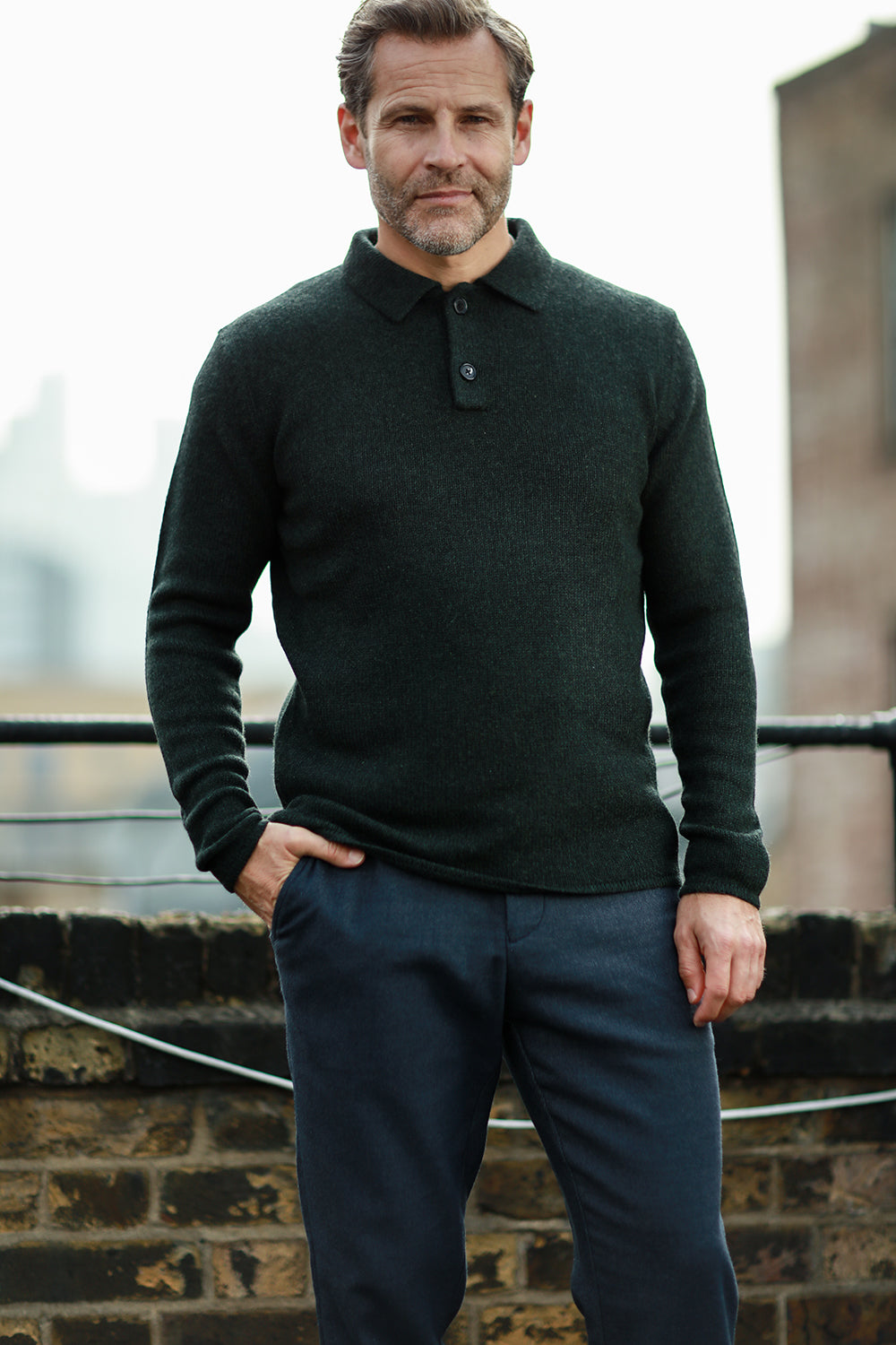 Men´s Cashmere Polo Neck Sweater in heavy jersey stitch Spruce green on model full size
