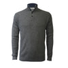 Men´s Cashmere Sweater Button Neck Andromeda in Carbon Stitch Mid Grey - Hommard