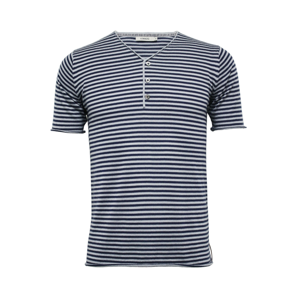 Men´s Silk Cashmere Striped Short Sleeve T-Shirt Anguilla - Hommard