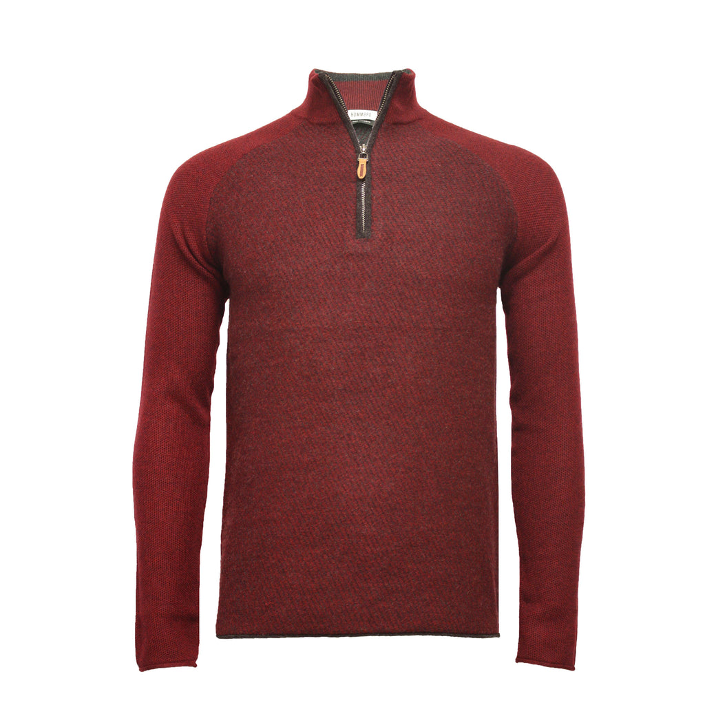 Red Men´s Cashmere Zip Neck Sweater Diagonal Stitch - Hommard
