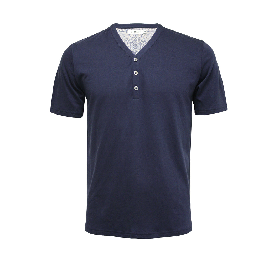 Men´s Silk Cotton T Shirt Short Sleeves with 3 buttons - Hommard
