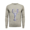 Silver Grey Crew Neck Lobster Intarsia - Hommard