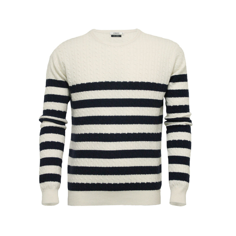 Men´s Cashmere Sweater Striped Cable Crew Neck in Silk Cashmere - Hommard