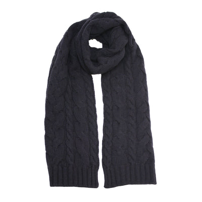 Sherlock Navy Cashmere Double Cable Scarf - Hommard