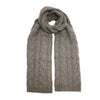 Grey Heather Cashmere Double Cable Scarf Gstaad - Hommard
