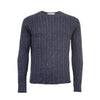 Donegal Men´s Cashmere Crew Neck Cable Sweater Buzz Blue - Hommard