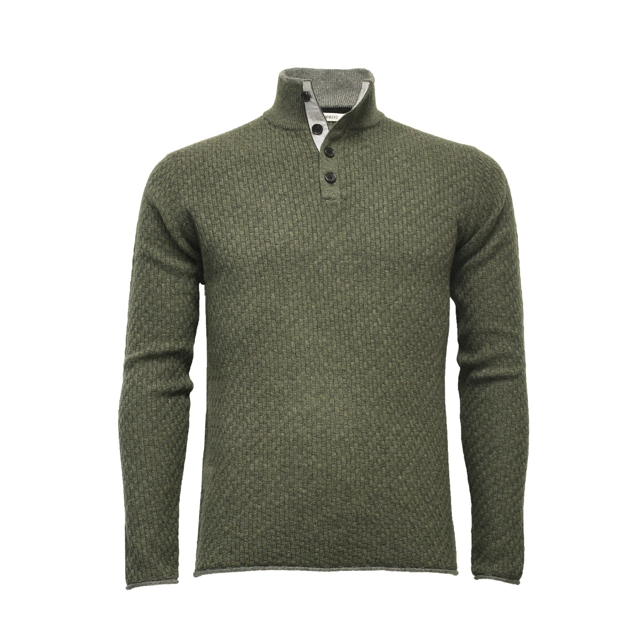 Men´s Cashmere Sweater Button neck Andromeda in Carbon Stitch Army Green