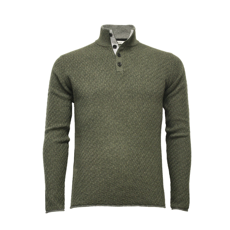 Men´s Cashmere Sweater Button Neck Andromeda in Carbon Stitch Charcoal - Hommard