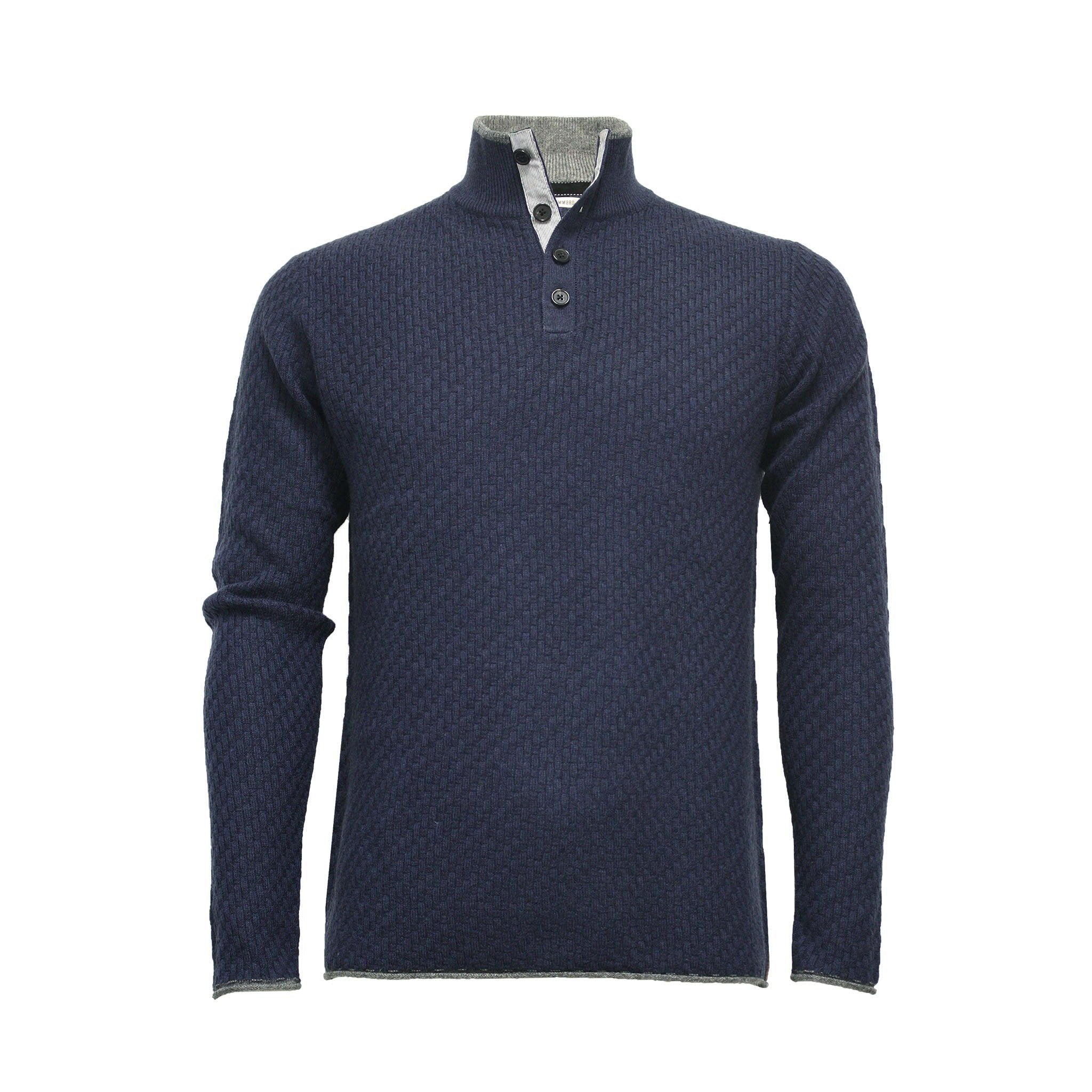Men´s Cashmere Sweater Button Neck Andromeda in Carbon Stitch - Hommard
