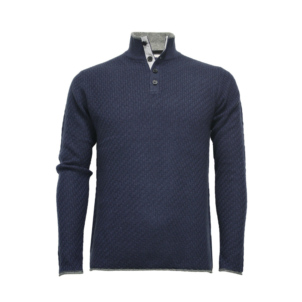 Men´s Cashmere Sweater Button Neck Andromeda in Carbon Stitch Indigo - Hommard