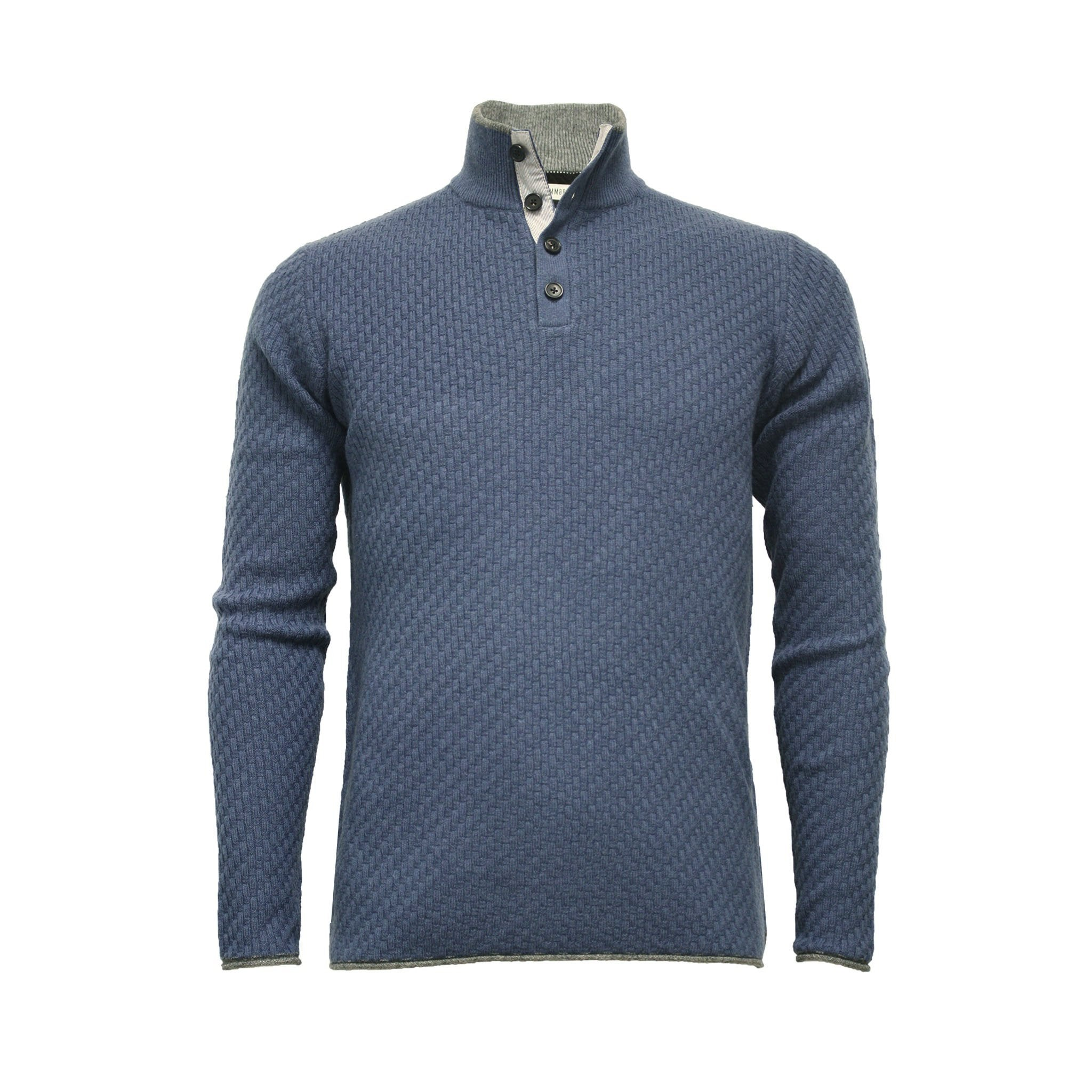 Men´s Cashmere Sweater Button neck Andromeda in Carbon Stitch Blue