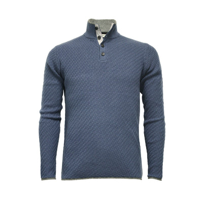 Camel Men´s Cashmere Sweater Button Neck Andromeda in Carbon Stitch - Hommard