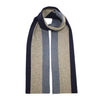 Striped knitted Cashmere Scarf Blue Grey - Hommard