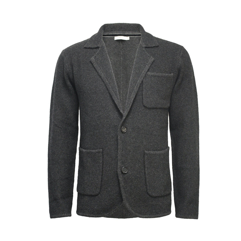 Charcoal Men´s Knitted Seed Stitch Jacket Tura - Hommard