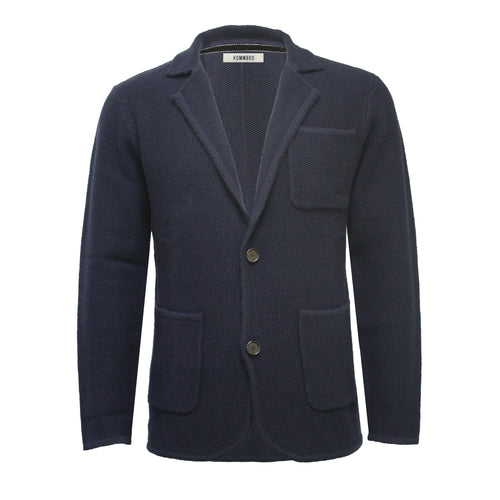 Navy Men´s Knitted Seed Stitch Jacket Tura