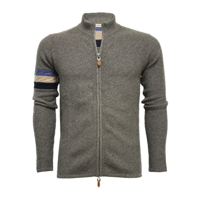 Grey Men´s Cashmere Zipper Sweater in seed stitch Cable on sleeve - Hommard