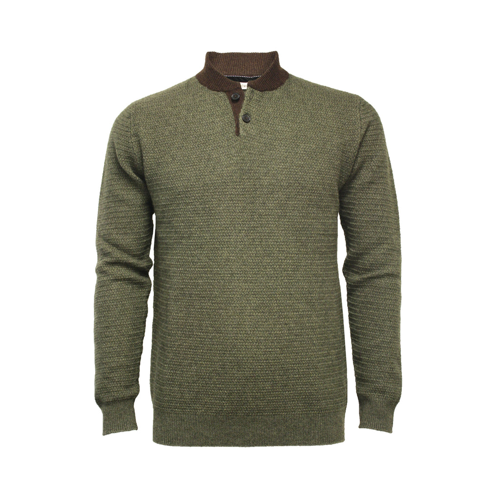 Men´s Cashmere Button Neck Sweater Hunter - Hommard