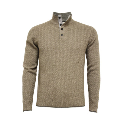 Men´s Cashmere Sweater Button Neck Andromeda in Carbon Stitch Hunting Green - Hommard