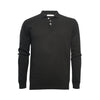 Black Men's Cashmere Pique Stitch Knitted Polo Sweater - Hommard
