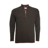 Donegal Black Red Men´s Cashmere Zip Neck Sweater Cabris in Carbon stitch - Hommard