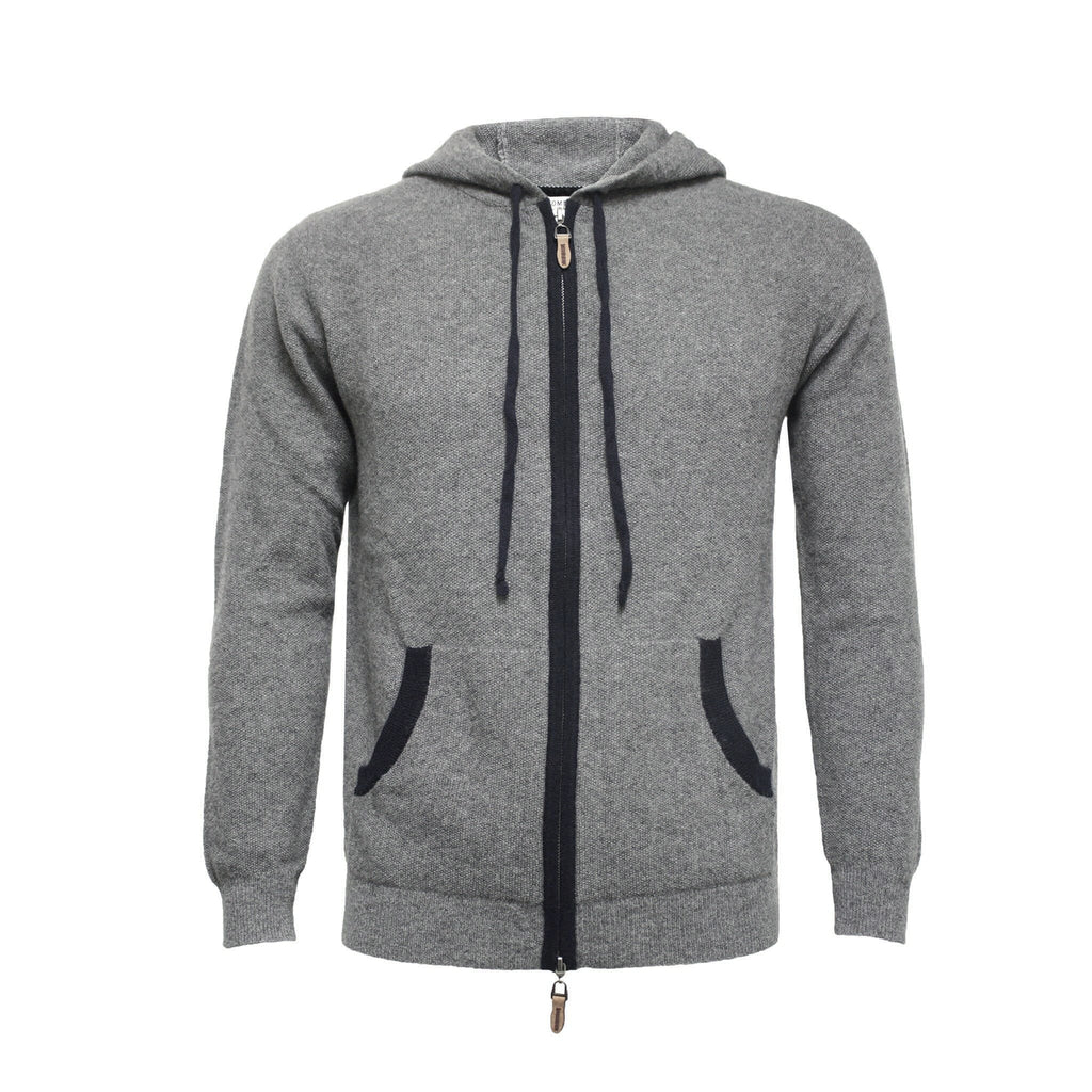 Men's Cashmere Hooded Zipper Sweater Nowra - Hommard