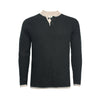 Donegal Black Men´s Cashmere 2 button Sweater in heavy seed stitch knit Vence - Hommard