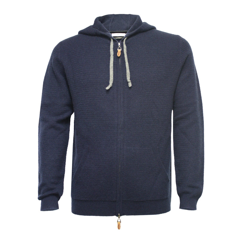Navy Men´s Hooded Cashmere Sweater in small Herringbone stitch Cervinia - Hommard