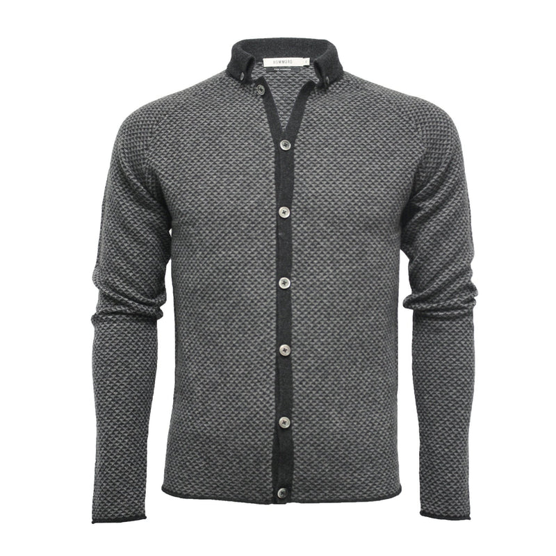 Men's Cashmere Diamond Stitch Knitted Shirt - Hommard