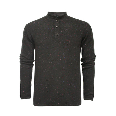 Black Men´s Cashmere Sweater Button Neck Bodalla in pique Stitch - Hommard