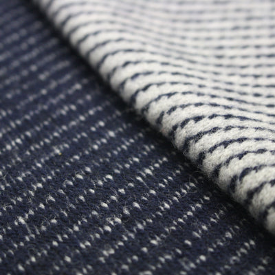 Diagonal stripe knitted Cashmere Scarf Voyager Blue Grey - Hommard