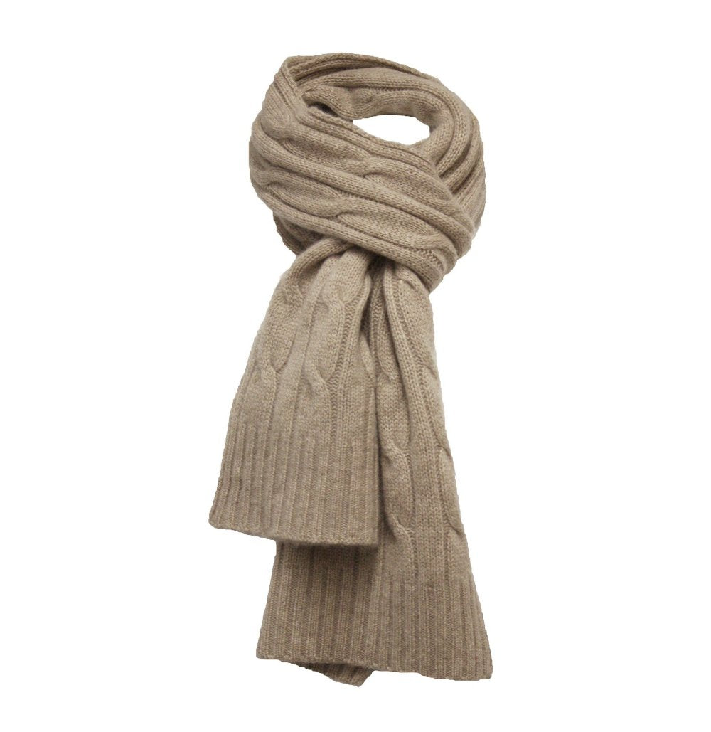 Cashmere Cable Scarf Camel Heather