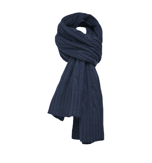 Navy Cashmere Cable Scarf
