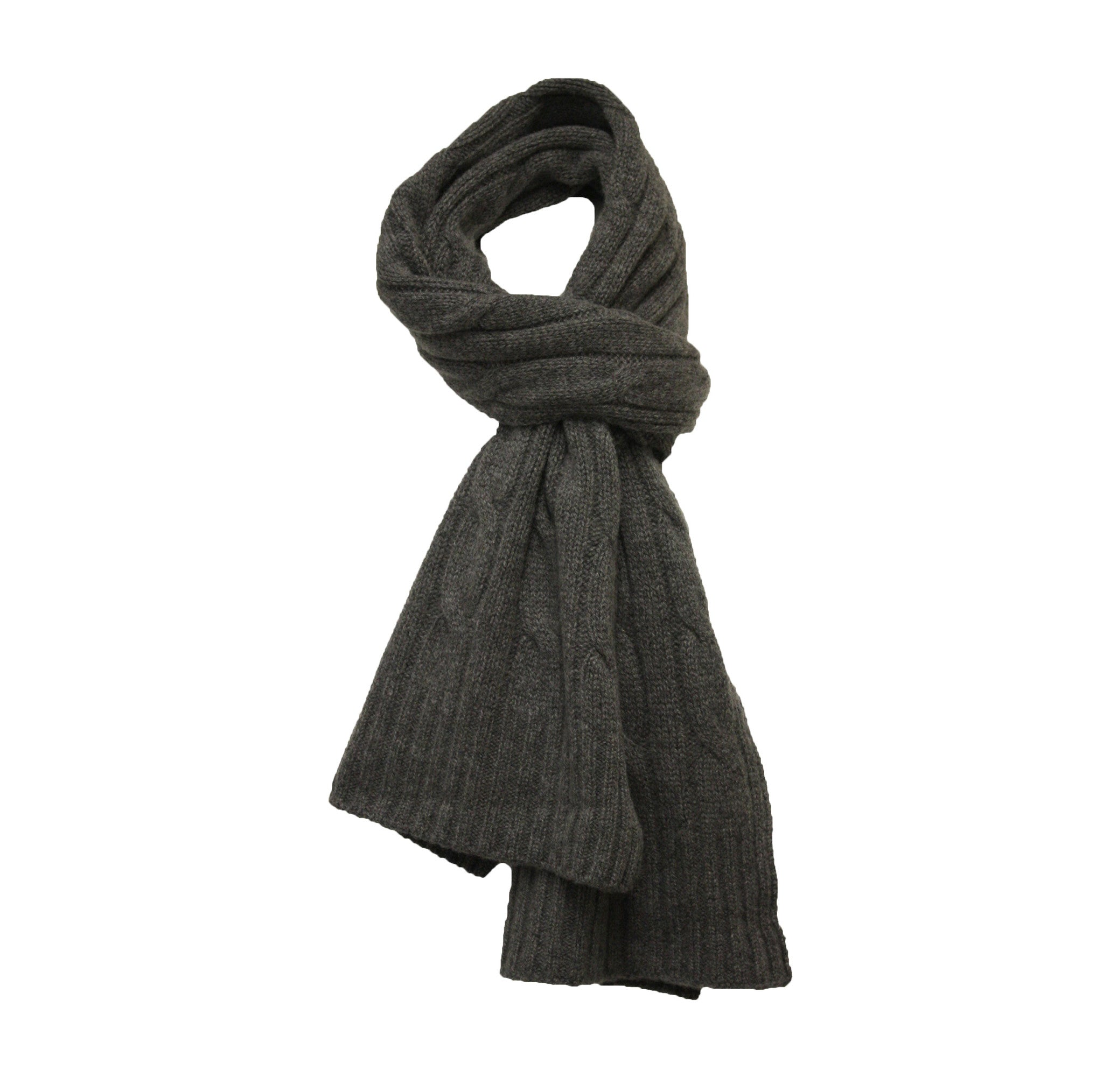 Cashmere Cable Scarf Mid Grey Heather
